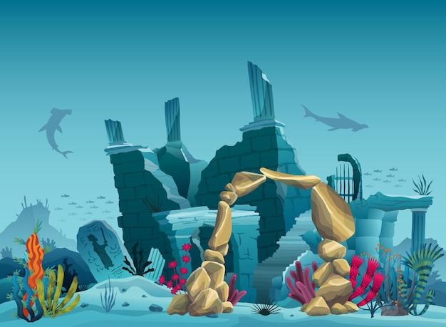 Подводные руины старого города и арка из песчаника. силуэт синего моря фона