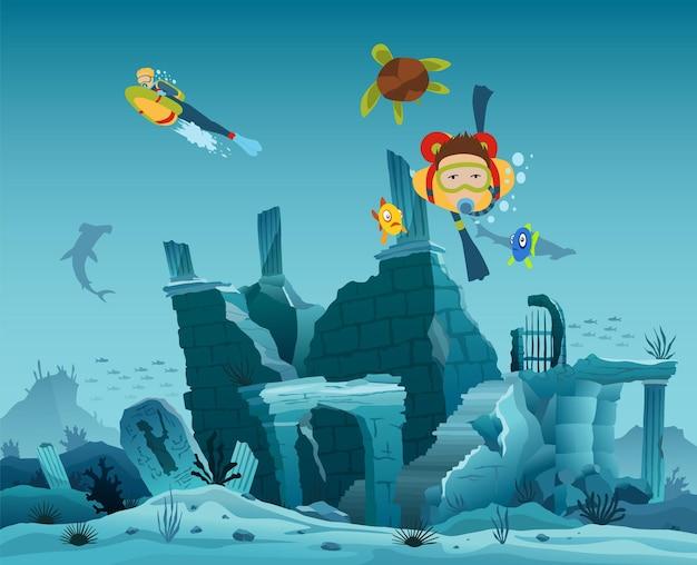 오래 된 도시의 수중 유적입니다. 다이버 탐험가와 암초 수중 야생 동물. 푸른 바다 배경에 물고기와 스쿠버 다이버가 있는 산호초의 실루엣. 수중 해양 야생 동물.