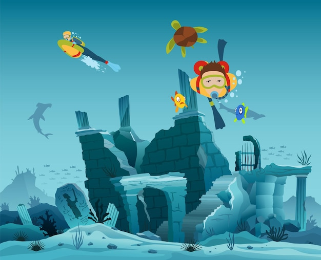 Underwater ruins of the old city. diver explorers and reef underwater wildlife. silhouette of coral reef with fish and scuba diver on a blue sea background. underwater marine wildlife.