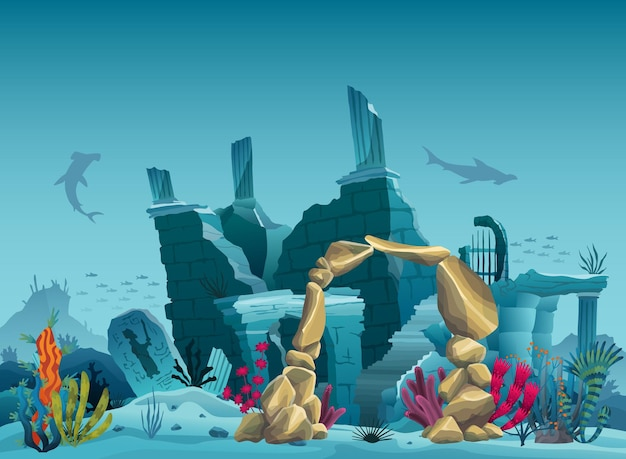 Underwater ruins of the old city and sandstone arch. silhouette of blue sea background