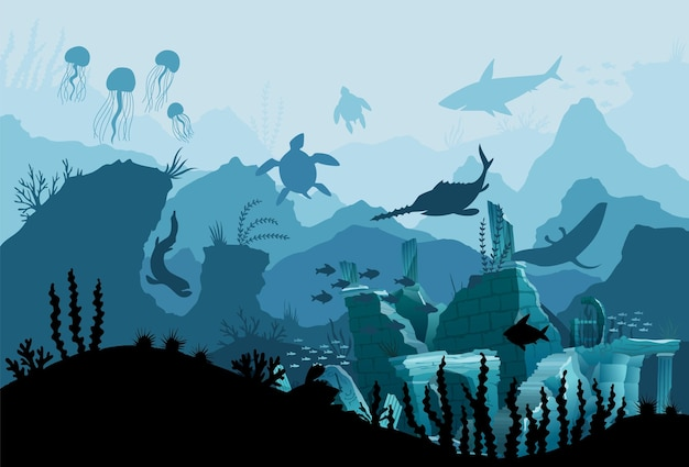 Underwater ruins of the old city. silhouette of blue sea background. natural underwater seascape