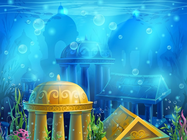 Underwater ruins with a set of elements for games