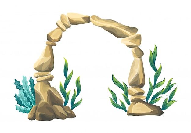 水中の砂岩のアーチ。自然な水中の海。海底の海藻