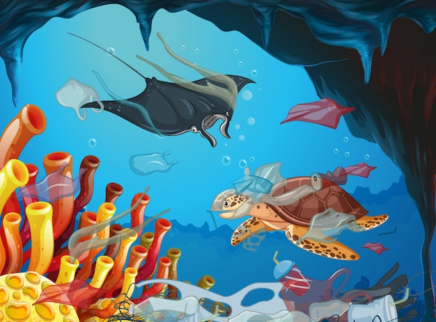 Underwater scene with animals and trash
