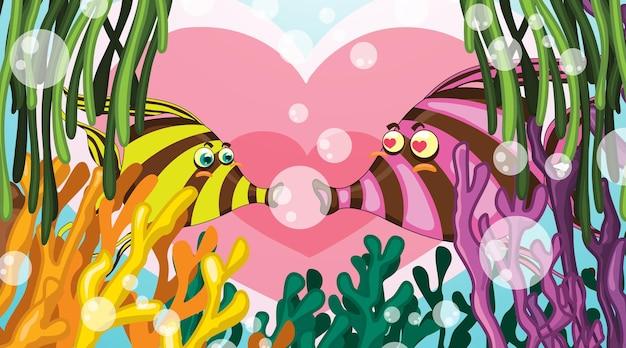 Scena subacquea con coppia di pesci innamorati e barriera corallina tropicale