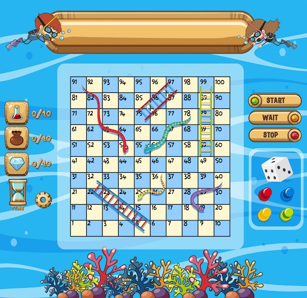 Underwater scene with snakes and ladders game template
