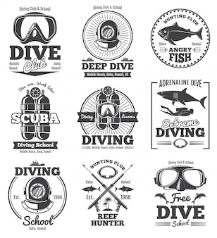 Underwater scuba diving club vintage emblems and labels.