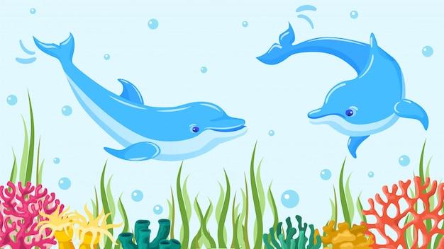 수중 바다 돌고래, 그림. 푸른 바다 물에서 물고기, 해양 수생 포유류 동물. 산호와 암초에서 야생 동물