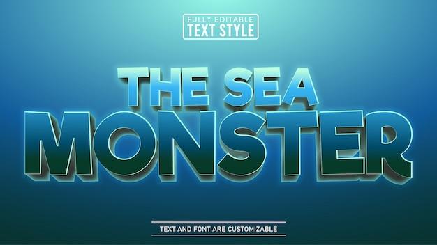수중 바다 괴물 게임 및 영화 만화 제목 편집 가능한 텍스트 효과 프리미엄 벡터
