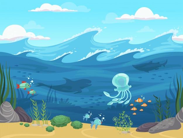 水中シームレス。魚と藻類の水生植物の地平線の背景を持つゲーム水の風景