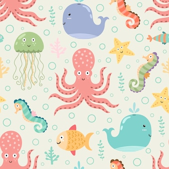 Underwater seamless pattern on light background. funny