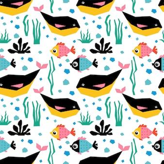 귀여운 물고기와 고래가 있는 수중 매끄러운 패턴입니다.