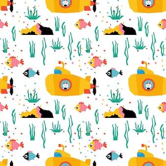 Подводный фон с милыми рыбками, животными и желтой подводной лодкой.