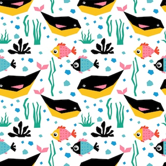 Underwater seamless pattern with cute fish and whales.