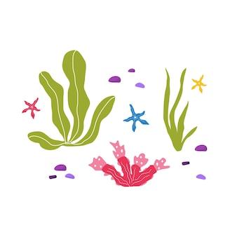 수중 바다 식물과 산호, 직물, 직물, 벽지, 보육 장식, 지문, 유치한 배경을 위한 해양 동물로 설정됩니다. 벡터.