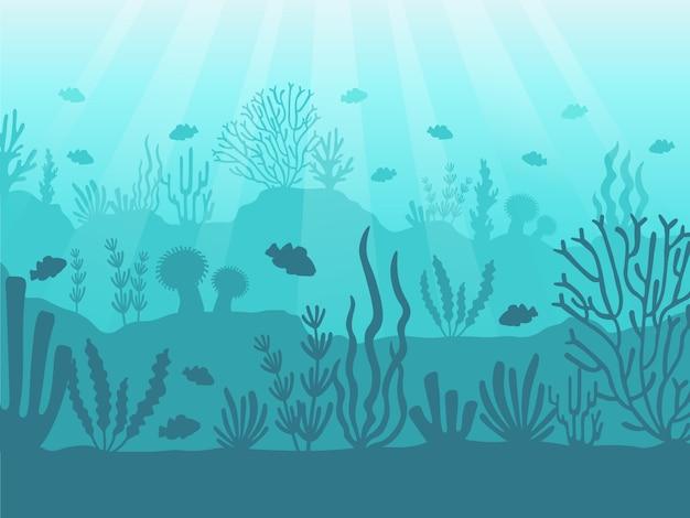수중 바다 경치. 바다 산호초, 심해 바닥 및 물 속에서 수영. 해양 산호 그림