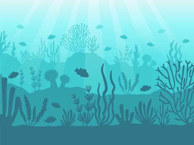 Underwater seascape. ocean coral reef, deep sea bottom and swimming under water. marine corals illustration