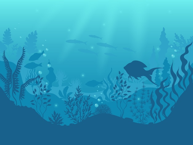 Underwater silhouette background. undersea coral reef, ocean fish and marine algae cartoon scene, sunbeams under water