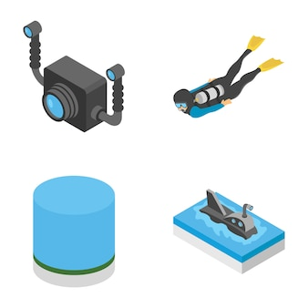 Underwater snorkelling icons pack