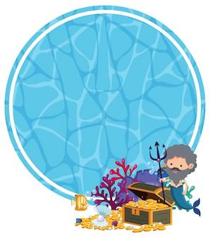 Underwater template with merman and treasure