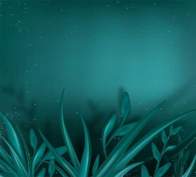 Underwater turquoise background with seaweed deep sea scene summer banner vacation concept