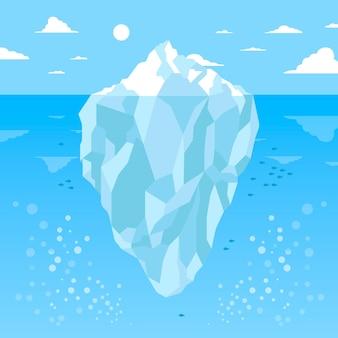日光の下で氷山の水中ビュー