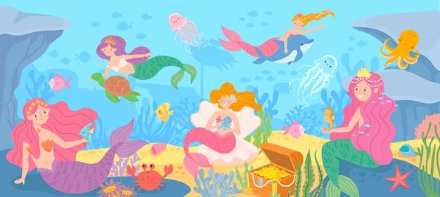 인어와 수중. 신화 속 공주와 바다 생물, 해초와 조개, 문어, 보물 만화 벡터 배경이 있는 해저. 아름다운 판타지 동화 소녀, 해양 생물