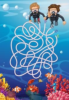 Underwater with scuba diver maze concept