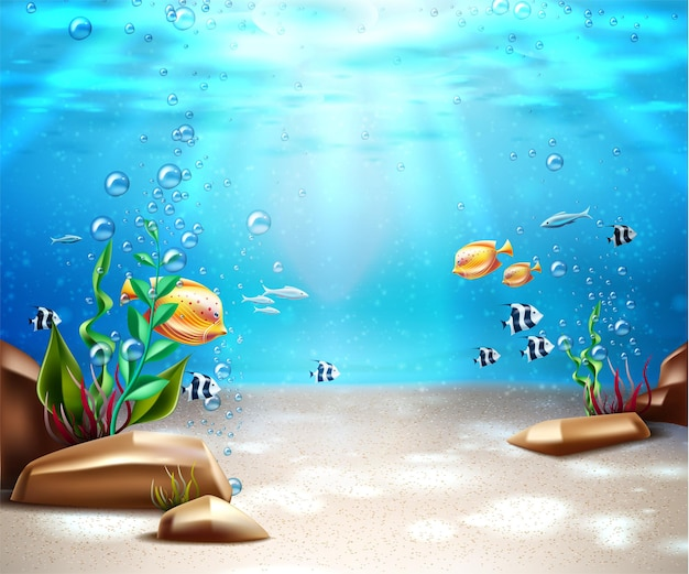 Underwater world background ocean and sea bottom life with blue water sunray exotic fish bubbles