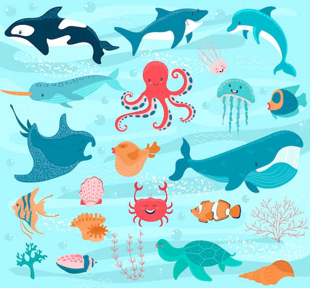 Underwater world cartoon, ocean animals,  illustration