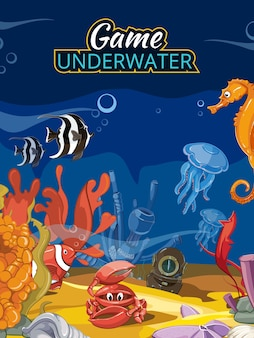 水中世界のコンピュータゲーム。海の魚と動物の野生生物クラゲヒトデとカニのイラスト。タイトル付きの漫画スタイルのベクトル画面