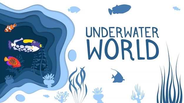 Underwater world design with coral reef fishes