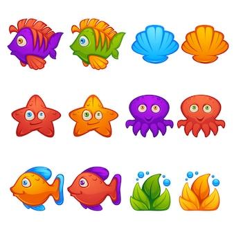 Подводный мир, рыба, звезды, осьминог, пузырьковая стрелялка, матч 3, объекты и блоки