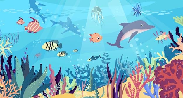 海の水中世界。珊瑚礁、魚、イルカ、サメ、メデューサ、熱帯の海底動物。