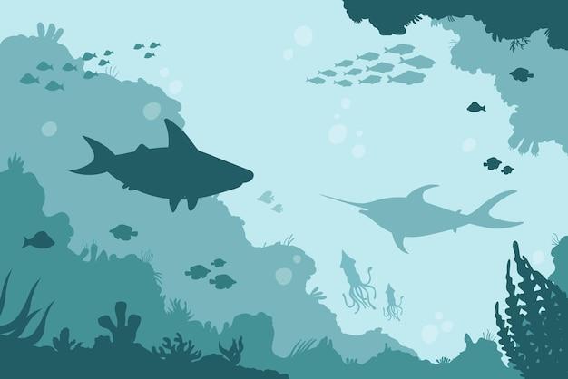 Подводный мир, пейзаж морского дна с акулой-мечом и косяком кальмаров