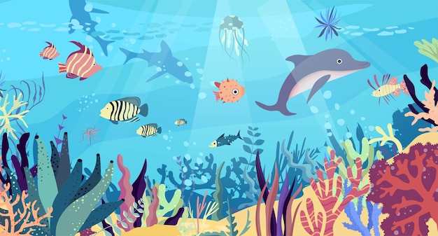 Underwater world in the ocean. coral reef, fishes, dolphin, sharks, medusa, undersea fauna of tropics.