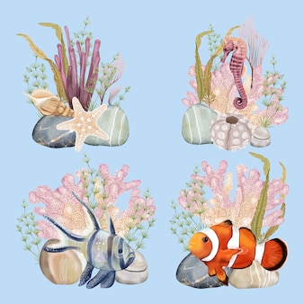 Underwater world party bouquet with fishes and seahorse