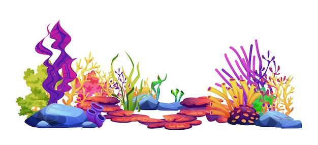 수중 세계 해저 식물 조류와 산호초 해초와 흰색 절연 돌 바위