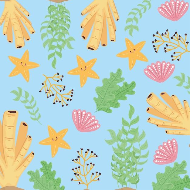 水中世界の海の生物パターンイラスト