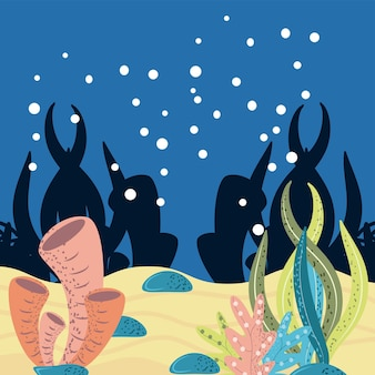 Underwater world seaweeds coral bubbles stones and sand cartoon illustration