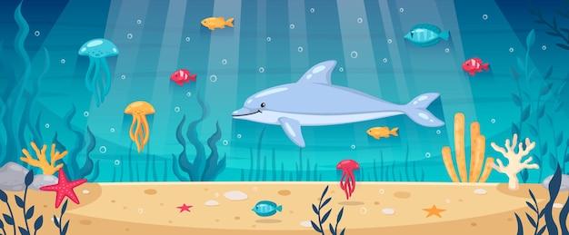 動物や植物のイラストと水中世界