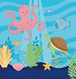 Underwater world with octopus seascape scene  illustration