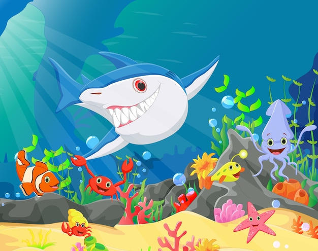 Underwater world with reefs and tropical fishes