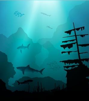 Подводный мир с акулами и затонувшим кораблем.