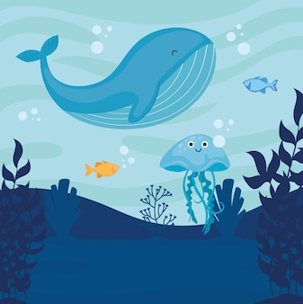 Underwater world with whale seascape scene  illustration