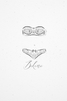 Underwear bikini drawing in vintage style on watercolor paper background