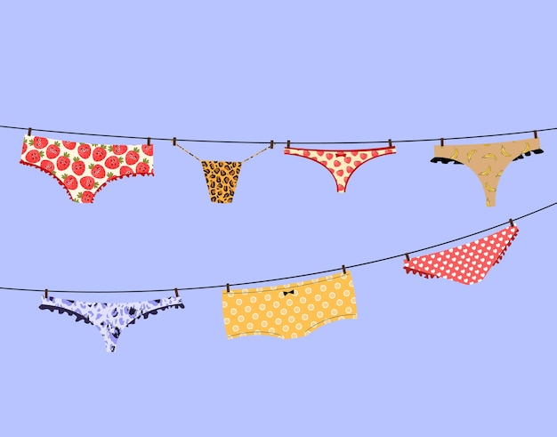 Underwear hang on a rope in a modern style