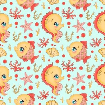 언더 월드 완벽 한 패턴입니다. 해양 바다 동물 패턴. 물고기, 해마 패턴.