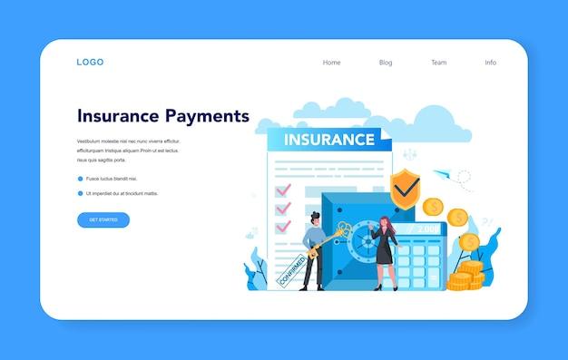 Андеррайтер веб-баннера или целевой страницы. страхование бизнеса, финансовая выплата в случае ущерба или финансовых потерь. идея безопасности и защиты собственности и прибыли.