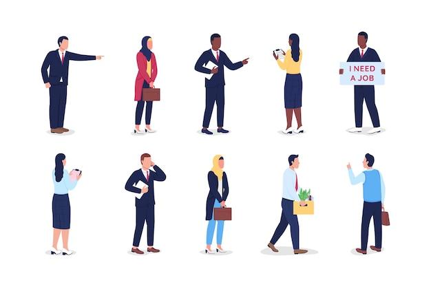 失業中のフラットカラーベクトルの顔のない文字セット。ボス発砲労働者。仕事の辞任。解雇された従業員は、webグラフィックデザインとアニメーションコレクションの漫画イラストを分離しました Premiumベクター